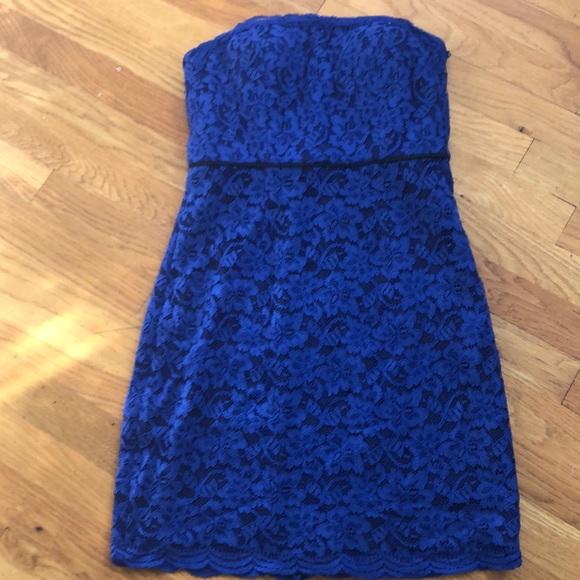 DVF walker royal blue lace strapless dress